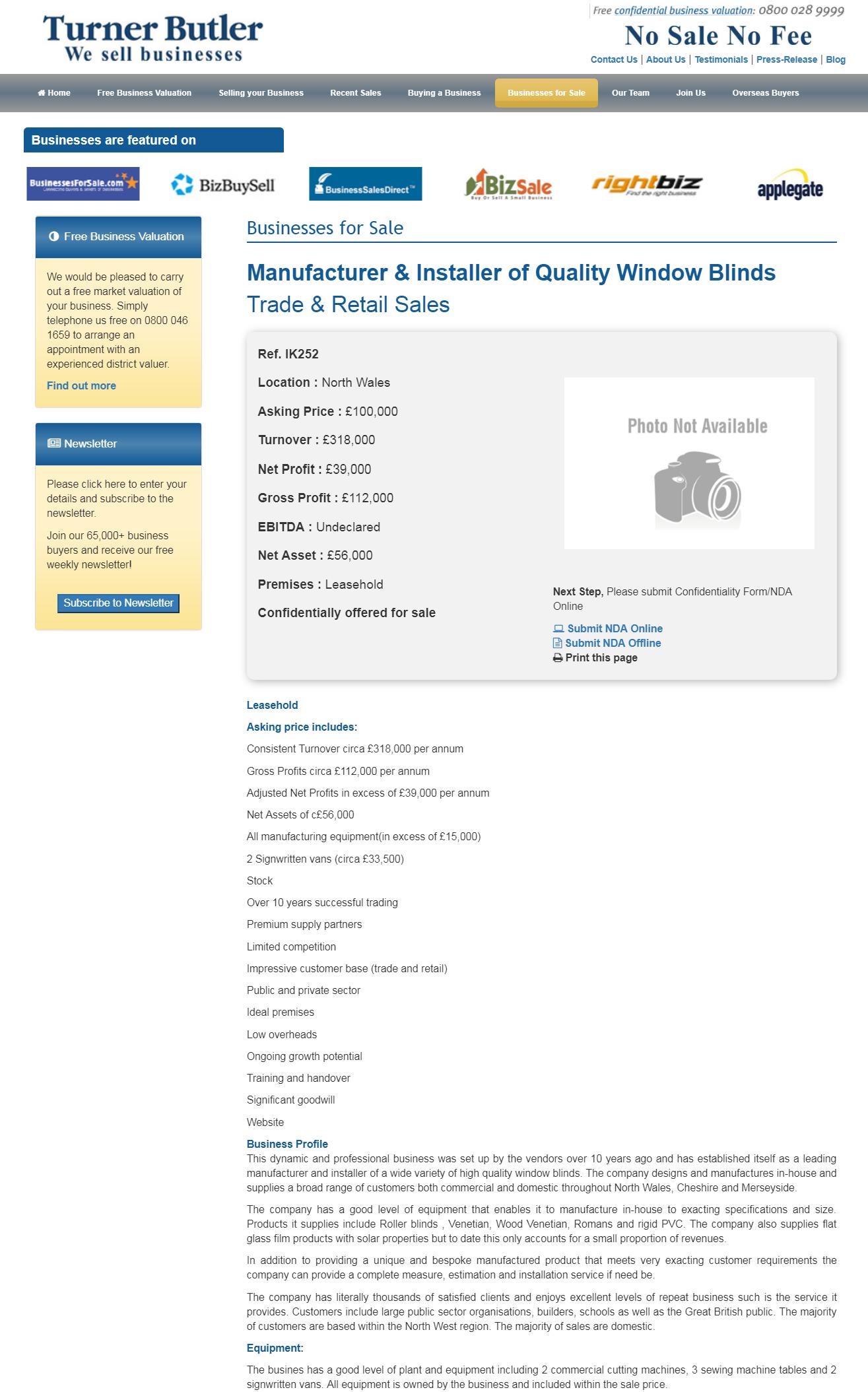 Business for sale Manufacturer & Installer of Quality