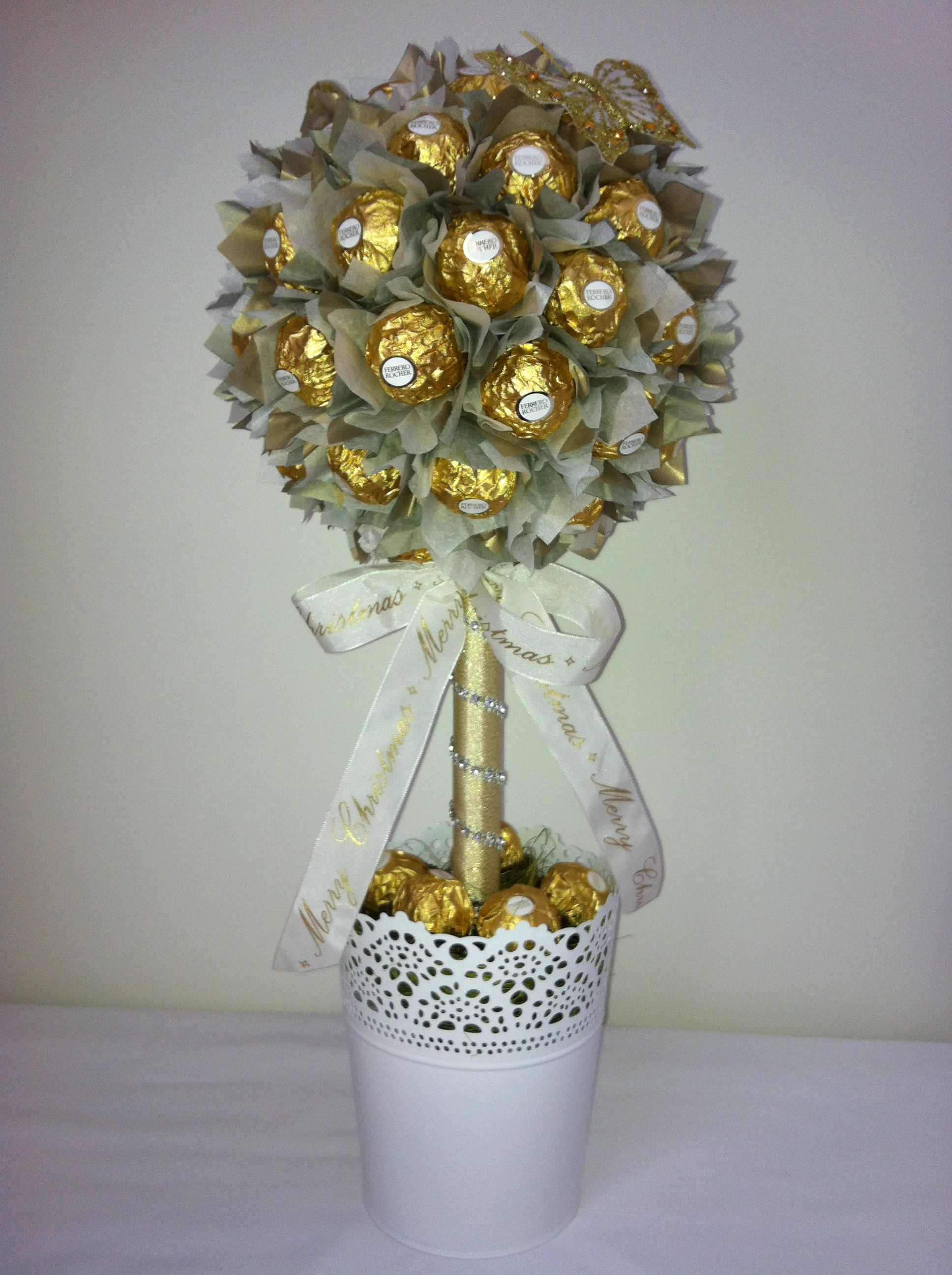 Ferrero Rocher Lolly tree with Christmas ribbon