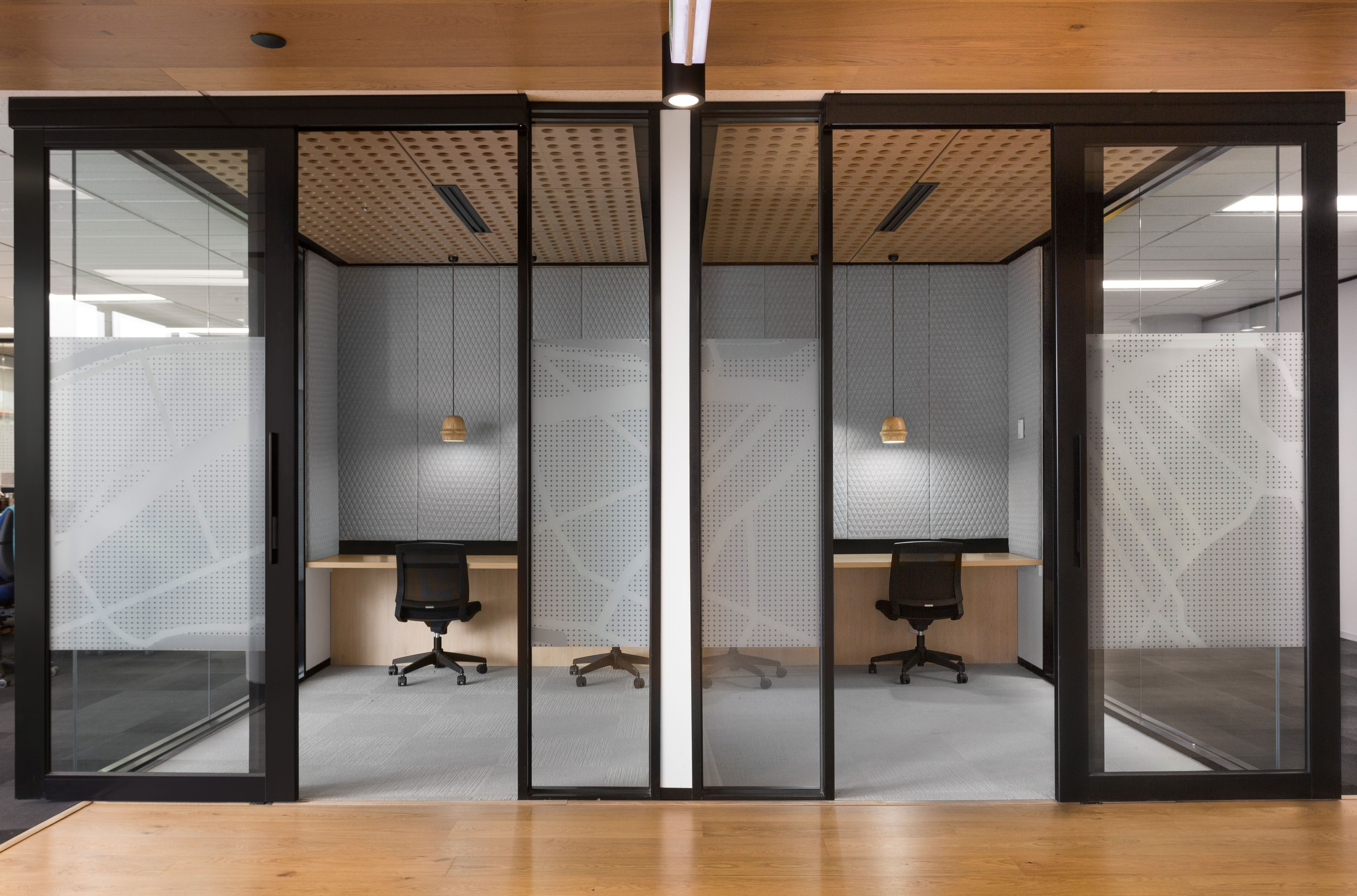 Office Design | Workplace Interior featuring Timber, Innofa Fabrics, Ross Didier lights. Hot Black Interior Design