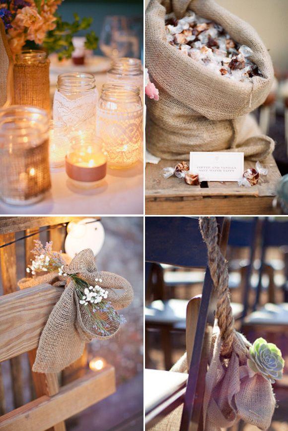 Ideas decoraci n boda r stica utilizando rafia y cuerda - Ideas decoracion rustica ...
