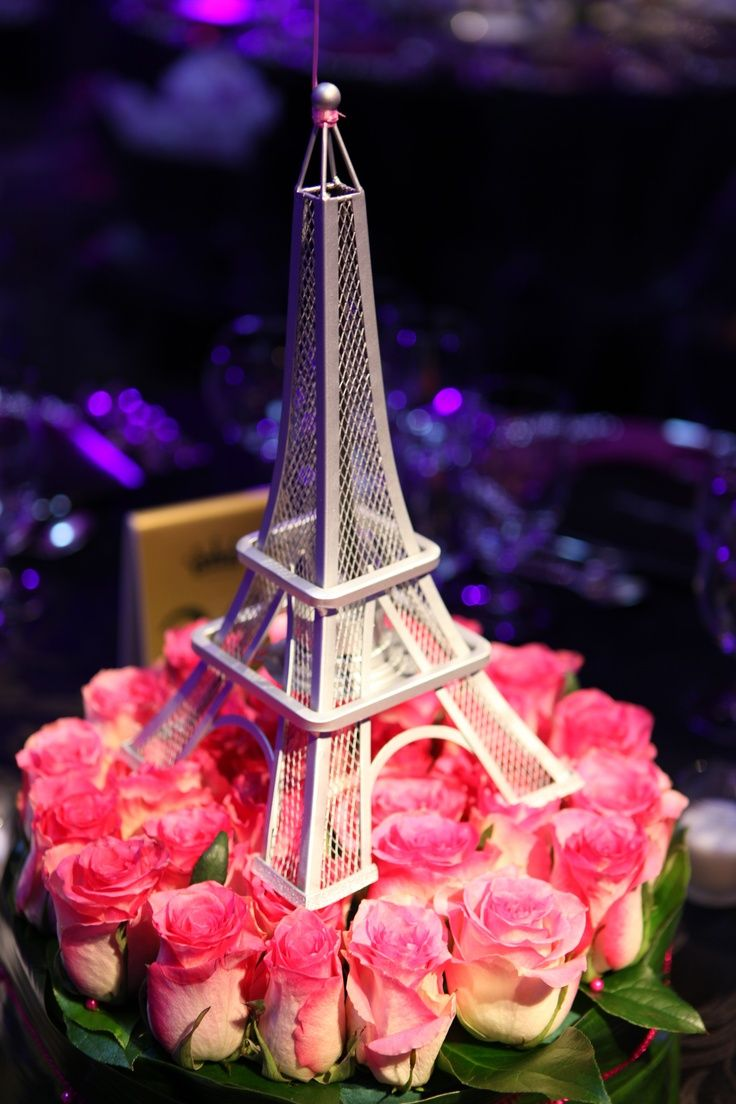 Eiffel Tower With Pink Rose Buds At Base