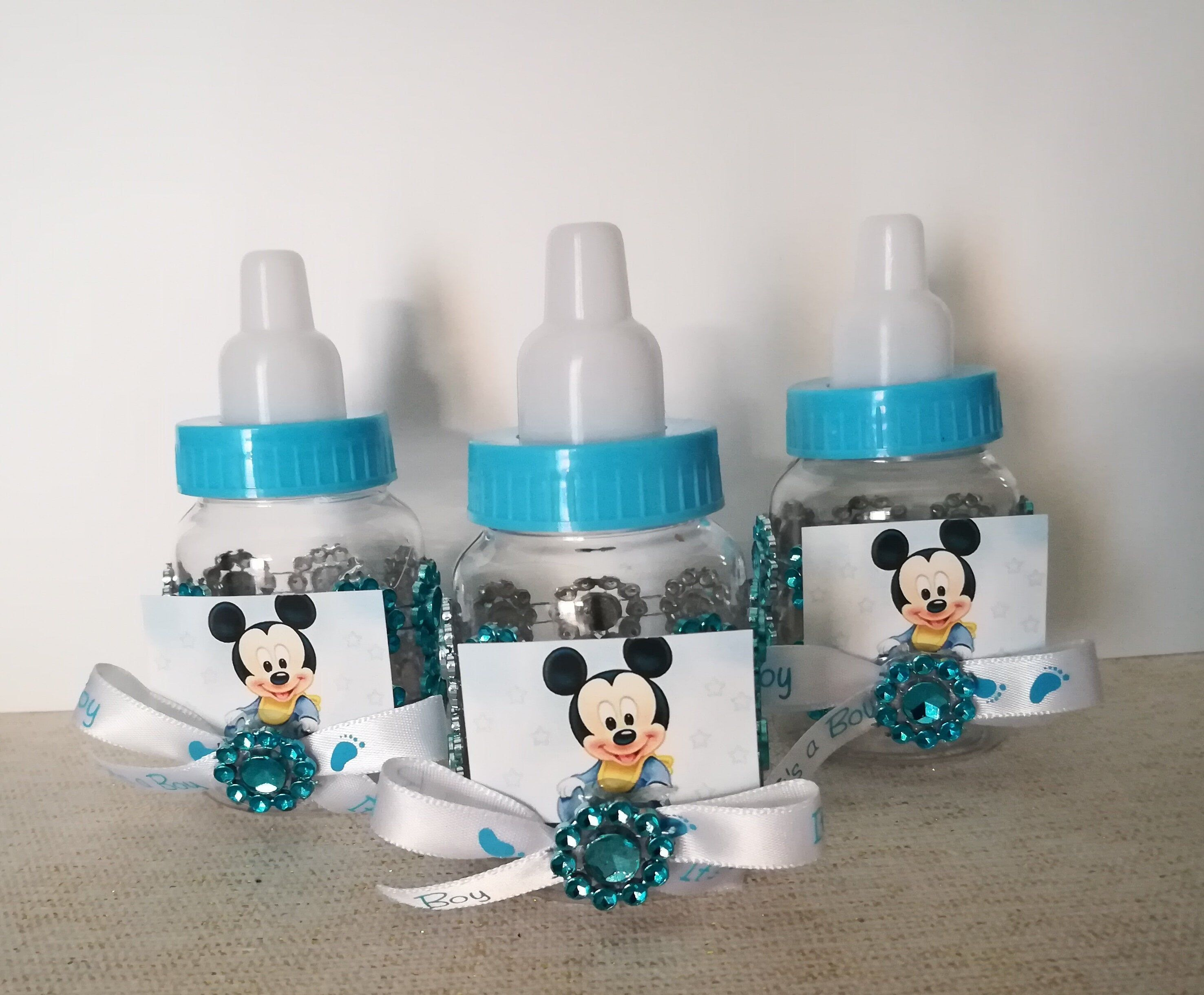 baby shower keepsake 12pcs Baby Mickey Bottle filler favor in blue for boy.