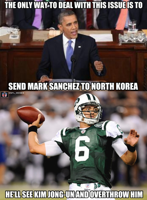 And That Is What They Call A Burn On You Mr Sanchez Nfl Memes Funny Nfl Funny Mark Sanchez