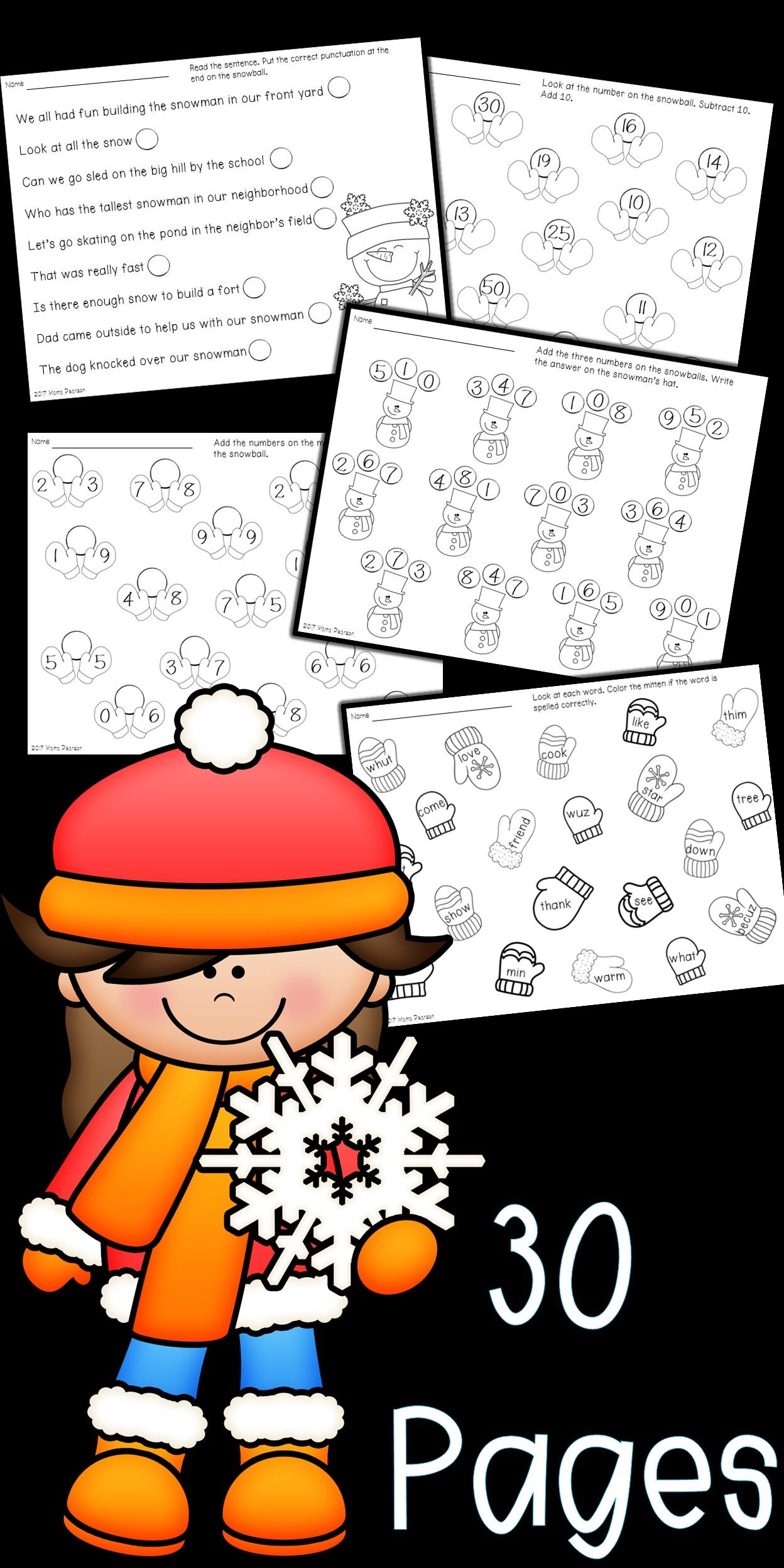 No Prep January Winter Math And Language Arts Printables
