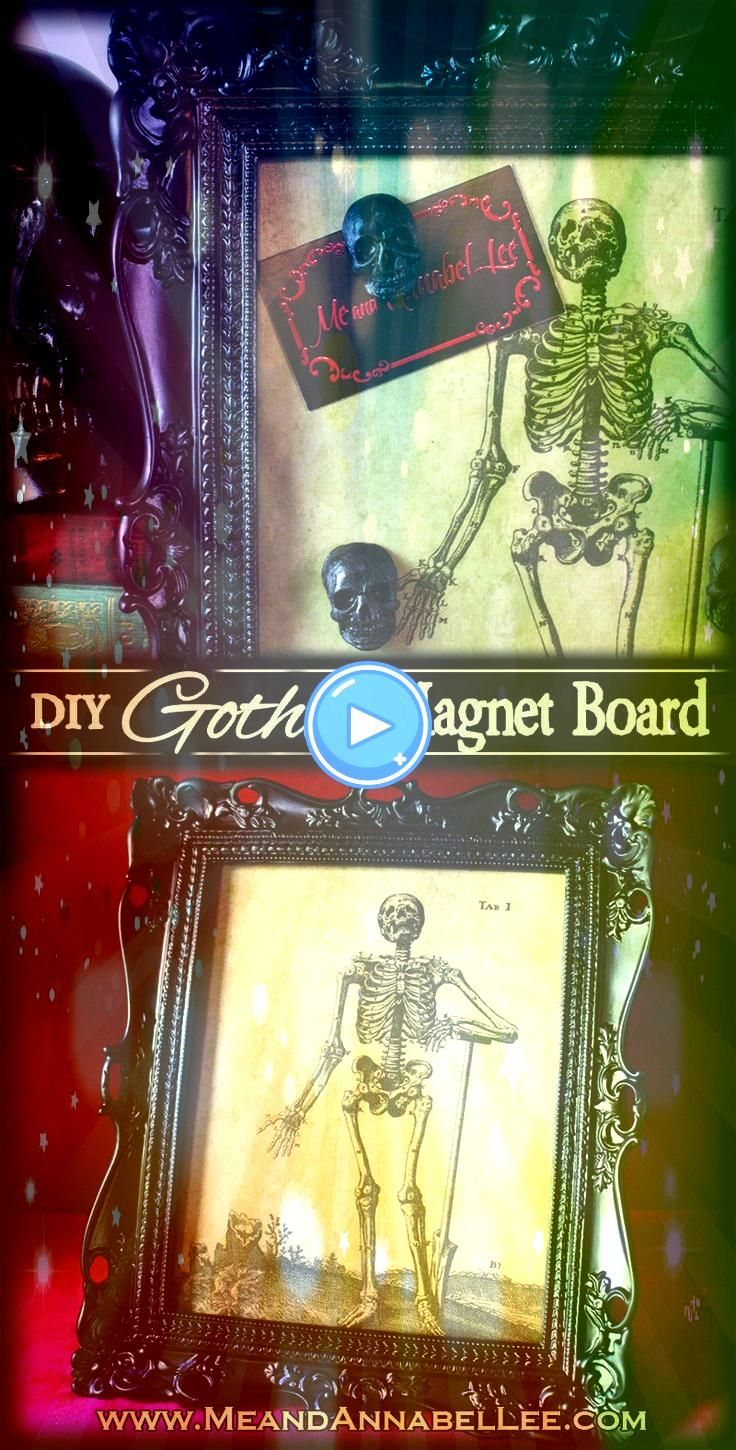 Gothic Skeleton Framed Magnet Board DIY Gothic Skeleton Framed Magnet Board  Black Baroque Frame  Vintage Skeleton Art Image Transfer  Goth Home Décor  How to upcy...