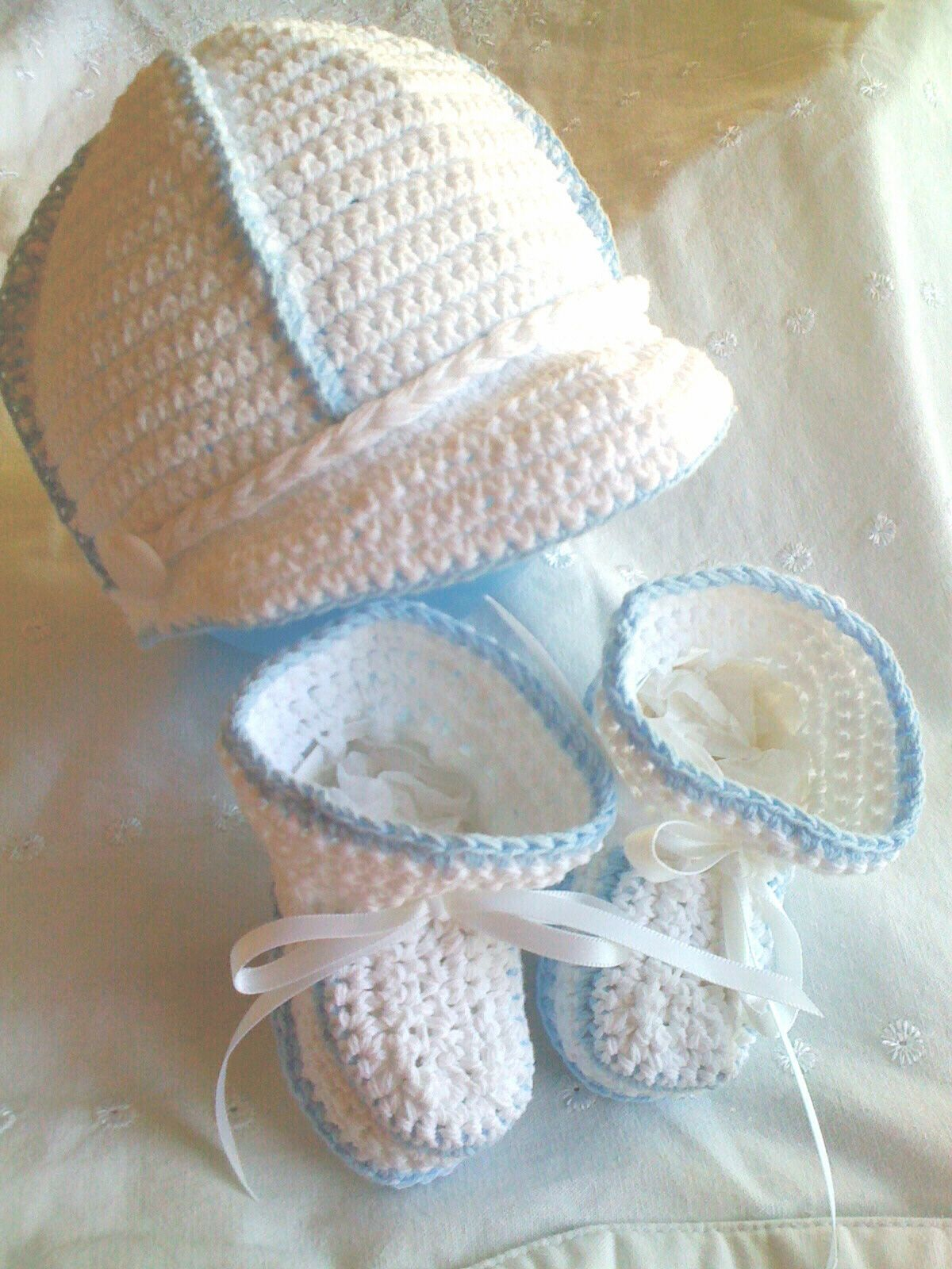 Baby Stuff On Pinterest | Crochet Baby Boy Visor Cap Hat Booties Reborn Doll - Other