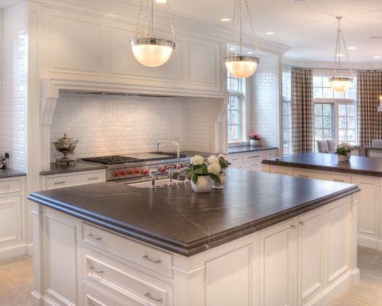New White Cabinets Dark Countertops