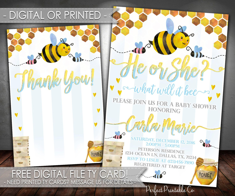 Bee Baby Shower Invitation, Bee Baby Shower Invite, Bee Baby ...