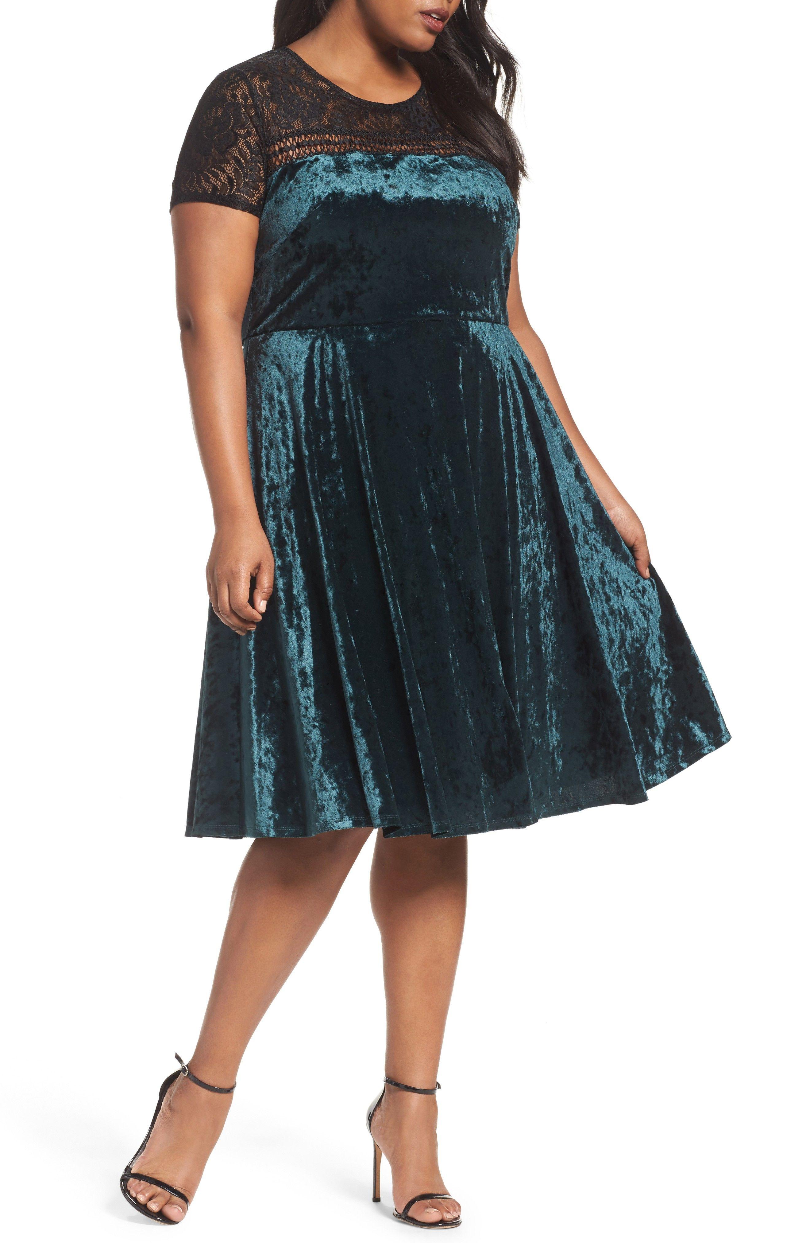 a405514a6cd Plus Size Velvet Fit   Flare Dress
