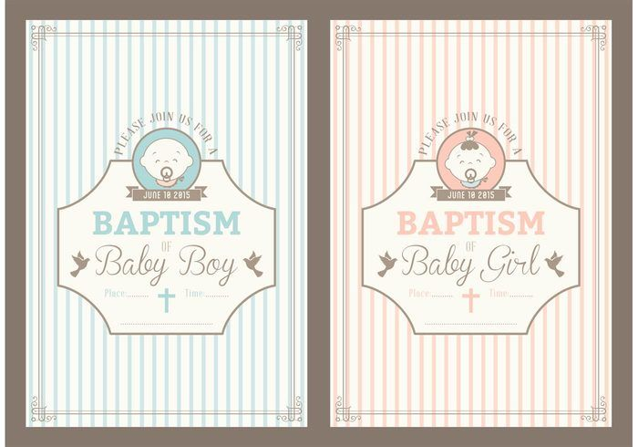 Free retro christening invitation vector cards diy printables free retro christening invitation vector cards stopboris Image collections