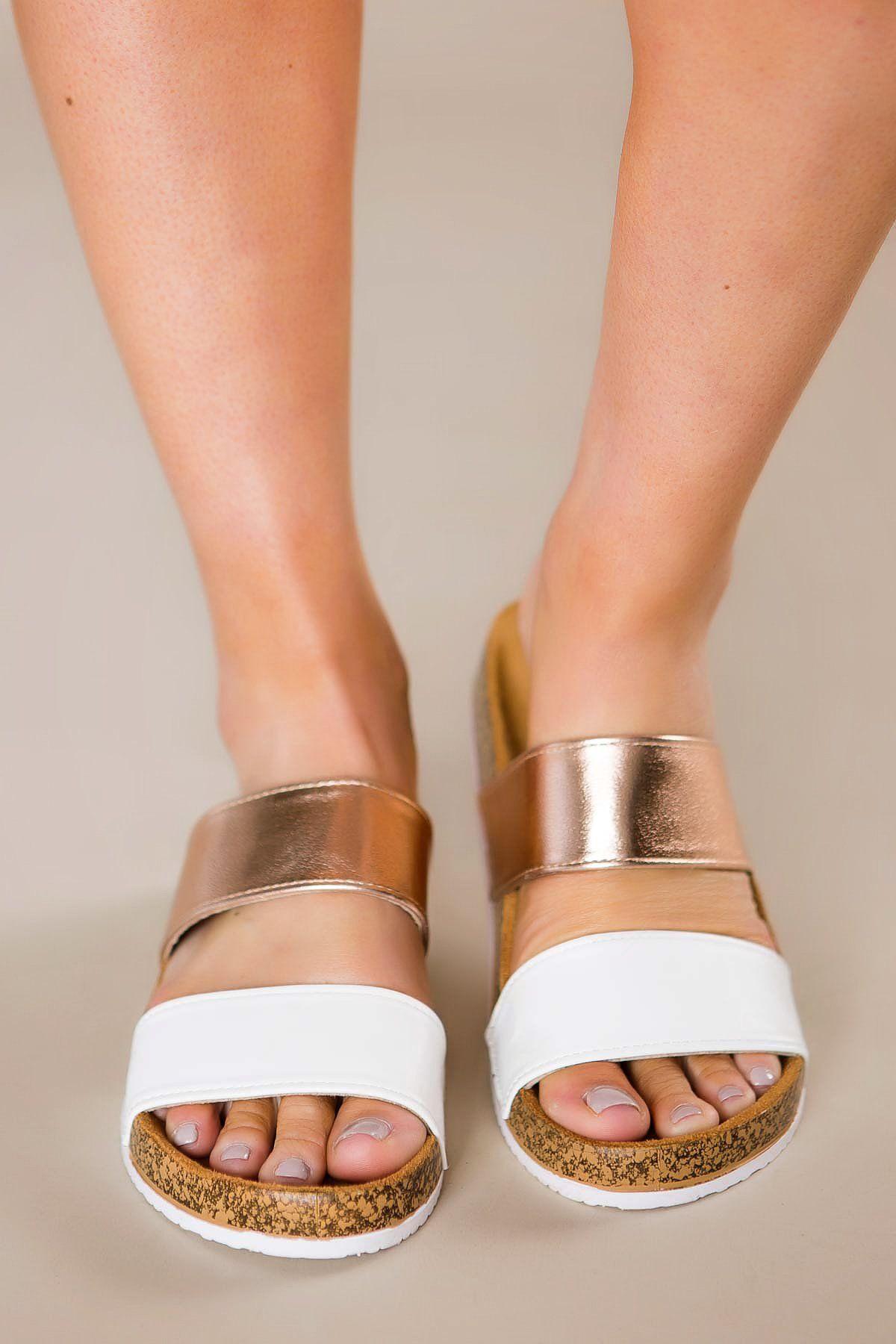 White/Rose Gold Sandals – Dottie