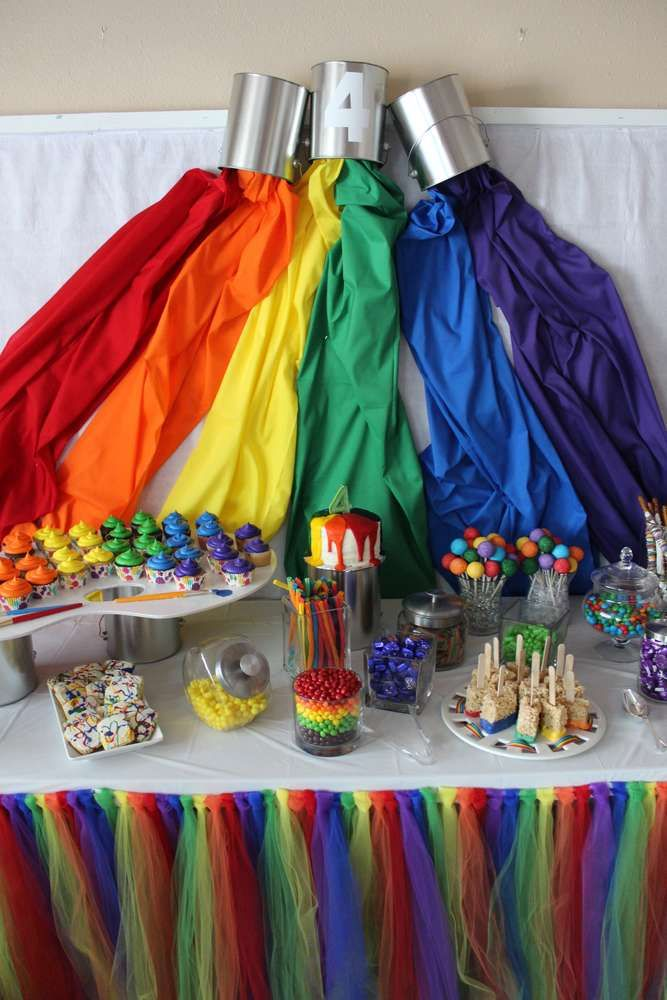 Rainbow paint backdrop at an art birthday party see more ideas catchmyparty also in brite pinterest rh