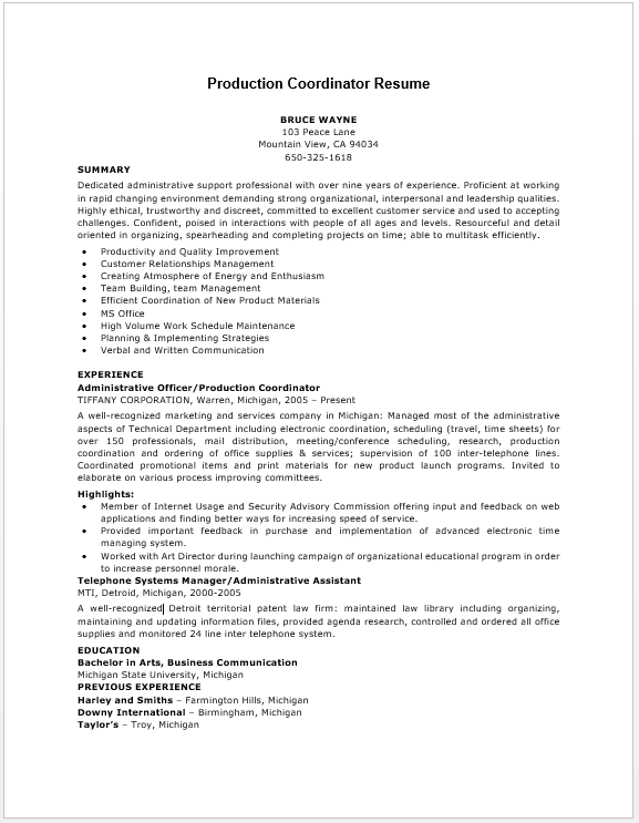 production coordinator resume