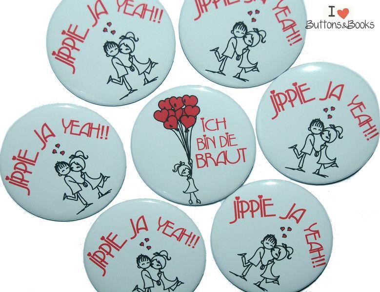 10x JGA Buttons Junggesellinnenabschied Herz von Buttons&Books