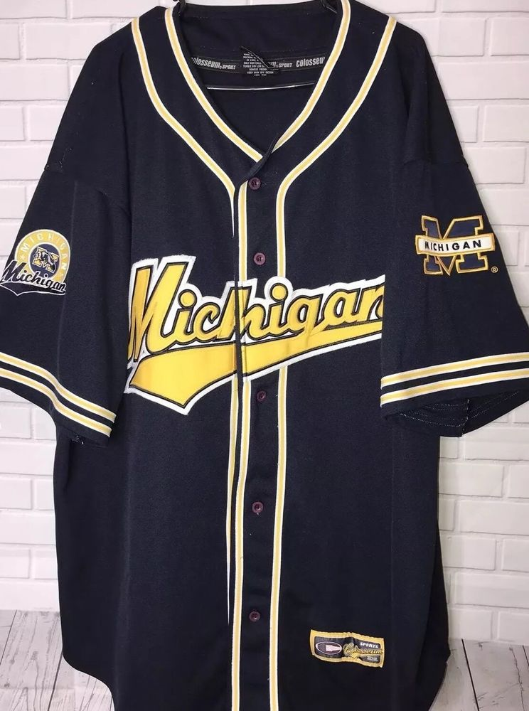 3859a6f4272b VINTAGE Michigan Wolverines Adult 2XL Navy Blue Baseball Jersey Patches  Stitched