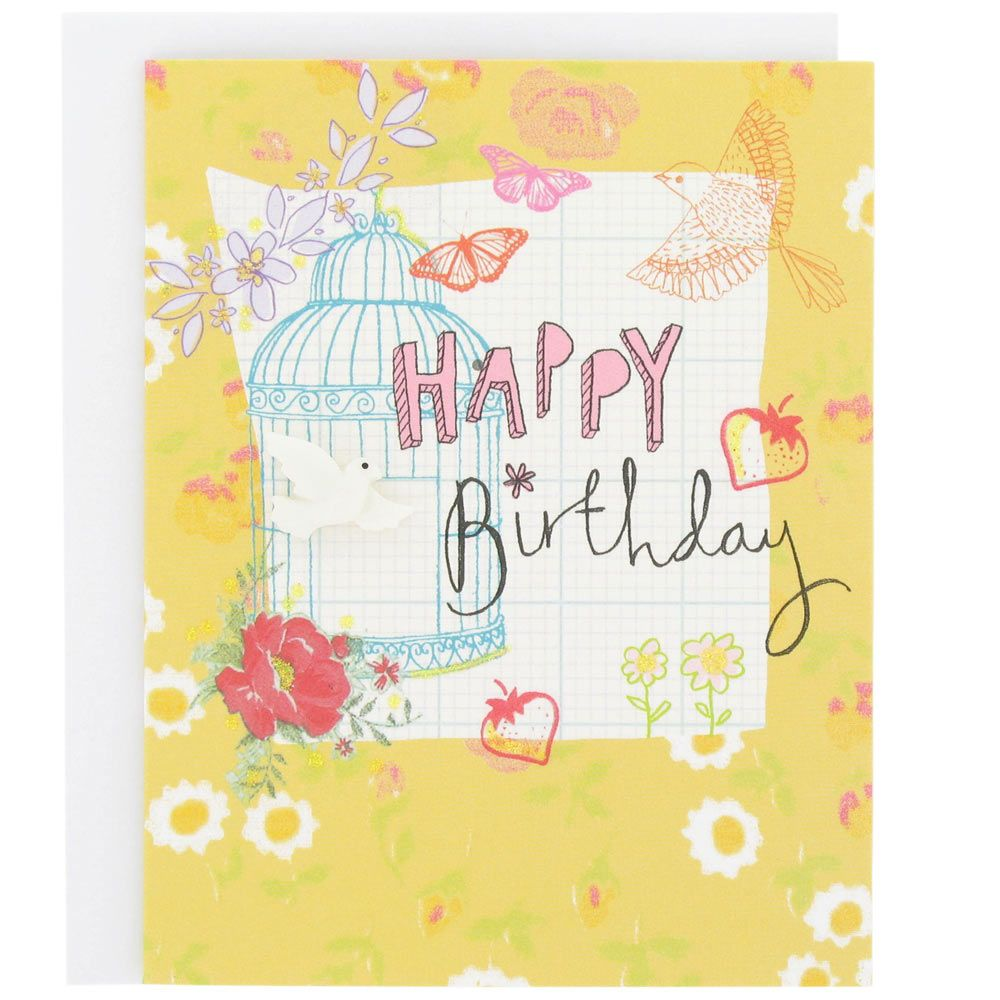Sunshine Birdcage And Dove Birthday Card At Paperchase Birthdays