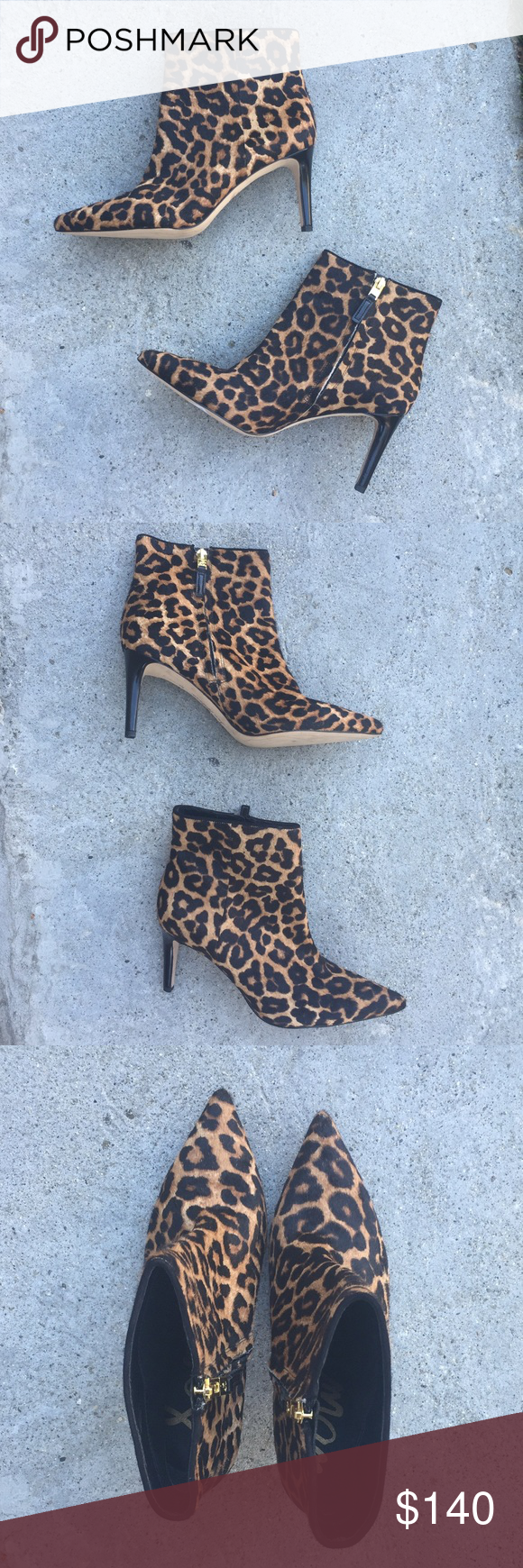 "Sam Edelman pointy toe leopard short heel booties Brand new, super fun pair of pointy toe leopard calf hair booties with hidden inside zippers and a short heel (3.25""). Perfect for the season! Sam Edelman Shoes Ankle Boots & Booties"