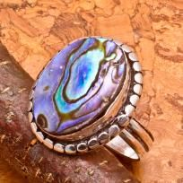 Amazing Silver Plated Abalone Shell Ring Size 7 #7113