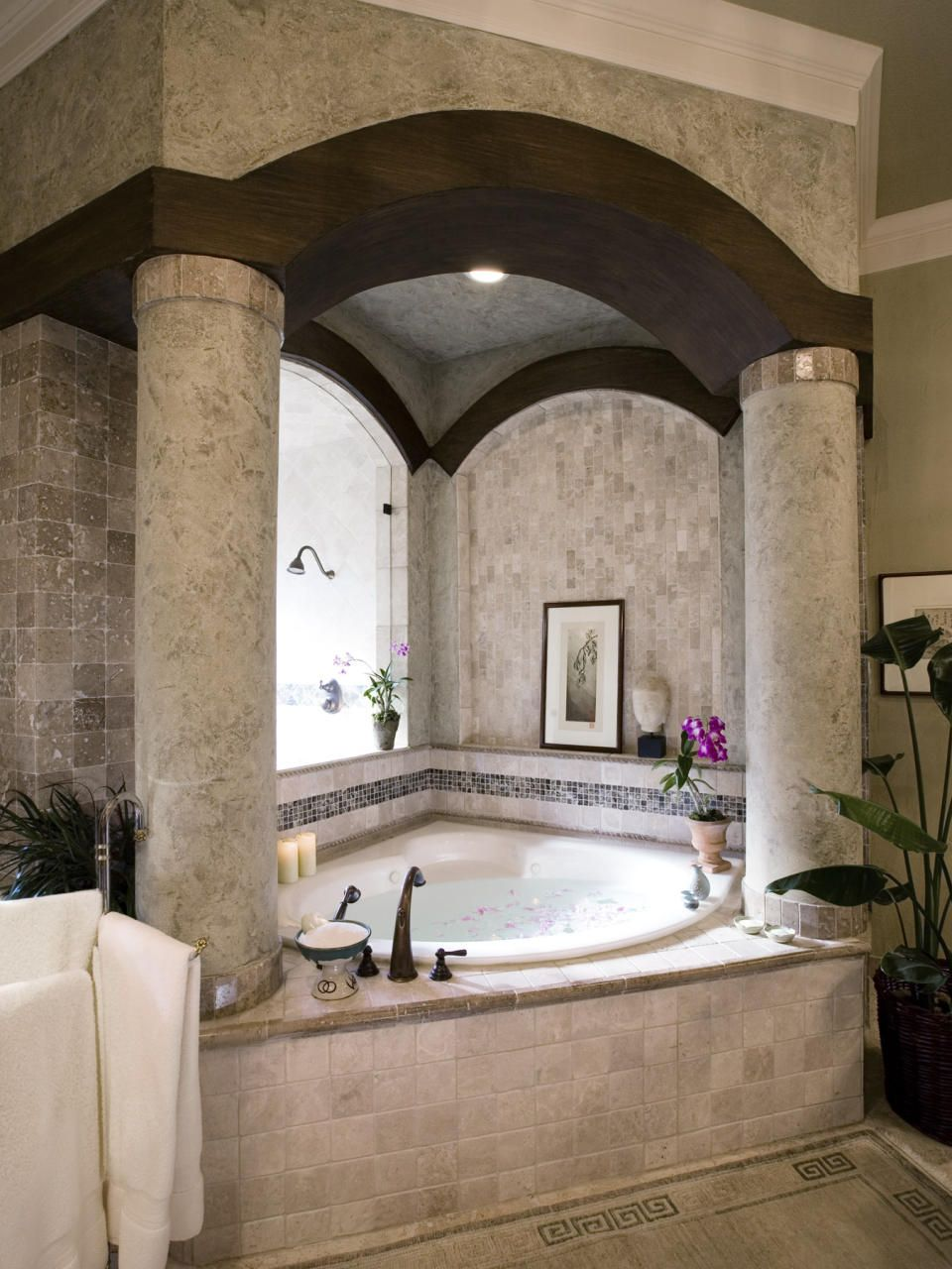 exquisite bathroom design ideas. Bathroom Design  Awesome And Beautiful Classic Corner Bathtub With Elegant Big Round Column Chic Wood Beam Small Luxury Bathrooms Ideas Now there s a tub and enclosure Give it Tuscan Mediterranean