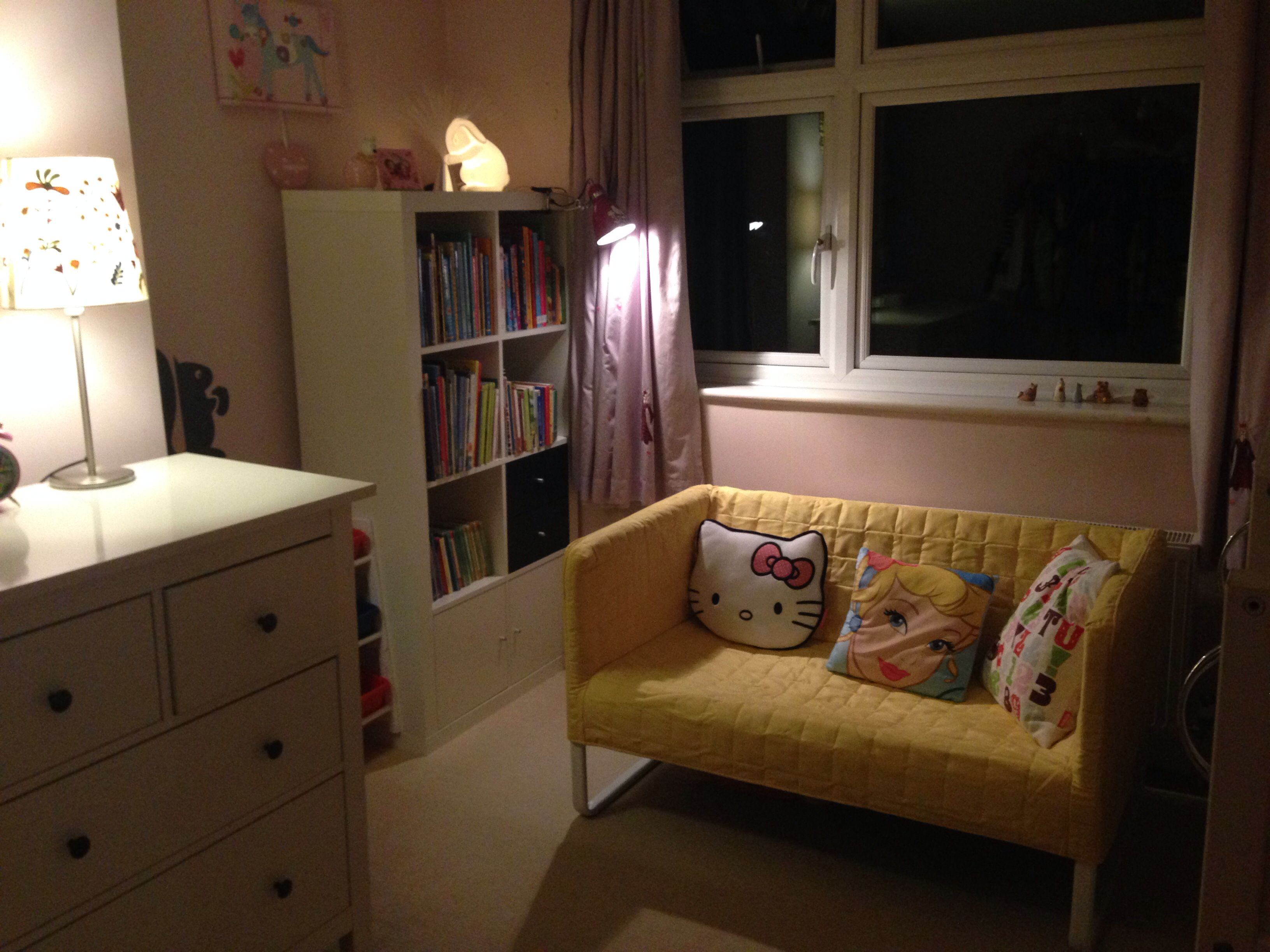 Girls updated room with IKEA Knopparp yellow sofa and new bookcase