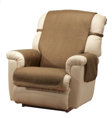 Leather Look Recliner Chair Cover, Brown