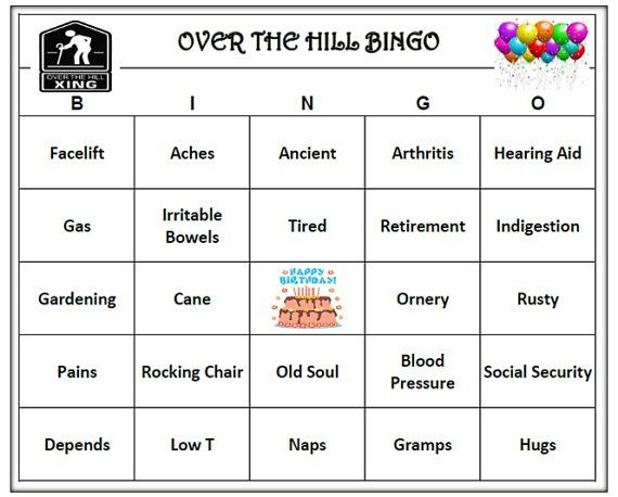 Over The Hill Birthday Party Bingo Game Is Hilarious And Fun For All Guests Includes 60 Unique Cards Old Age Theme BINGO Words Male Female
