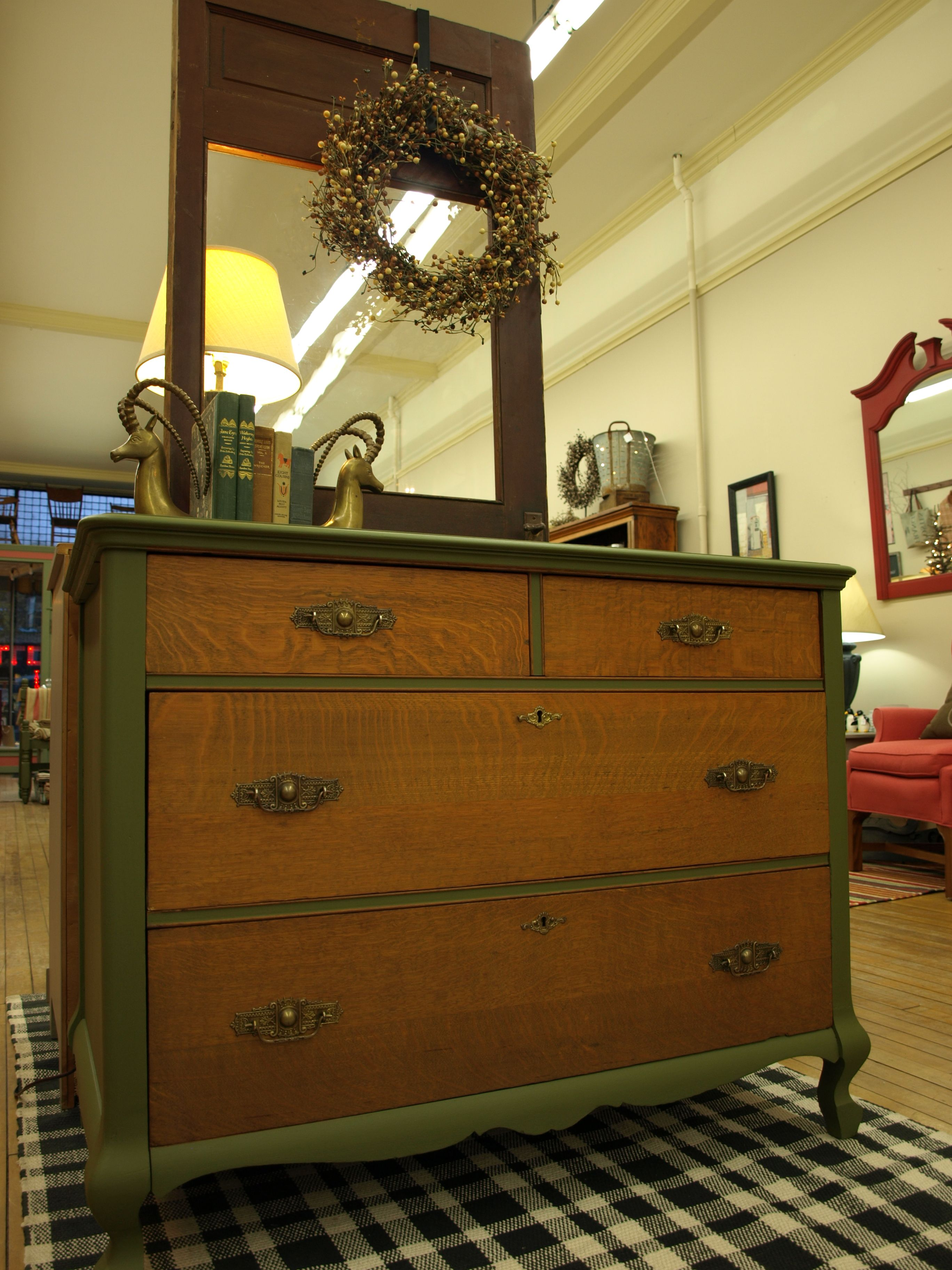 Dresser painted with Annie Sloan Chalk Paint Olive Green patina on