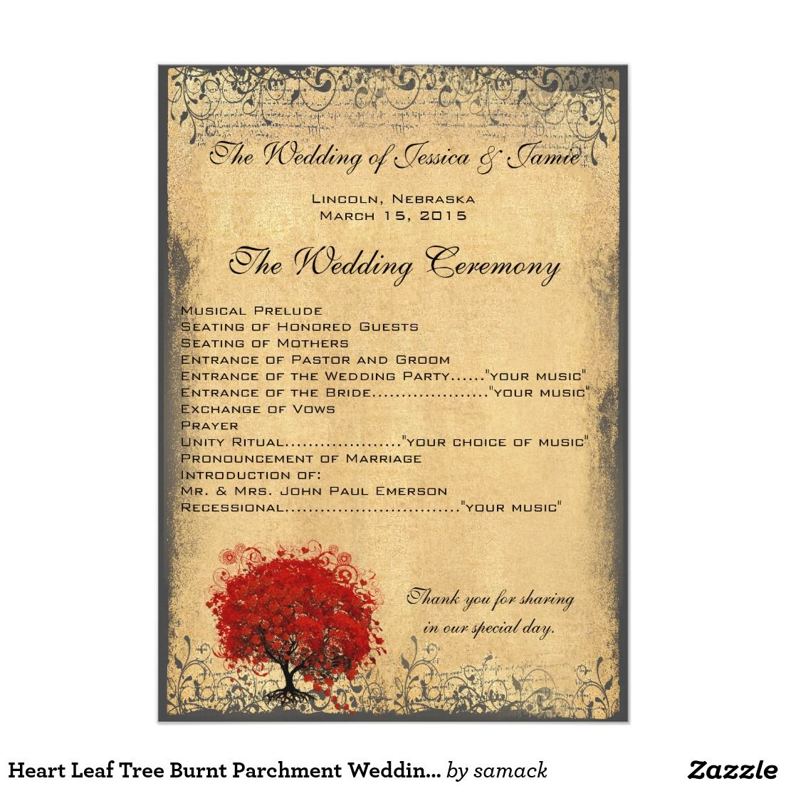 Heart Leaf Tree Burnt Parchment Wedding Program Wedding Programs
