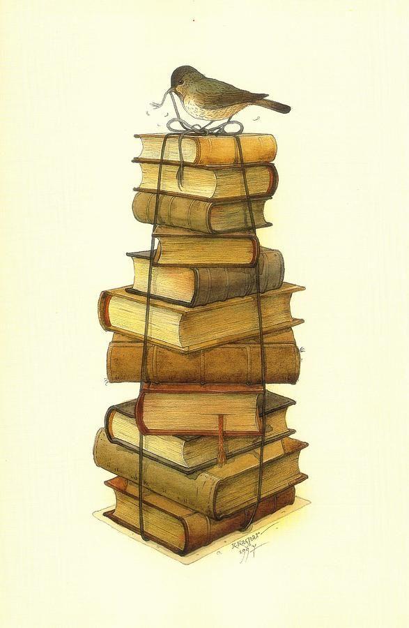 books-and-little-bird-kestutis-kasparavicius.jpg (587×900)