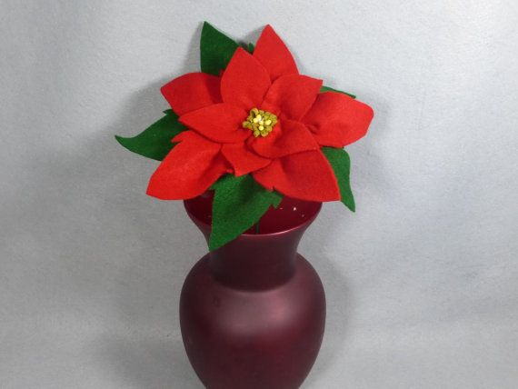 Poinsettia Flower Made To Order Artificial Christmas Flower Felt Flower Artificial Poinsettia Fake Poinsettia Christmas Bouquet Silk Flower Arrangements Flower Arrangements Fake Flowers