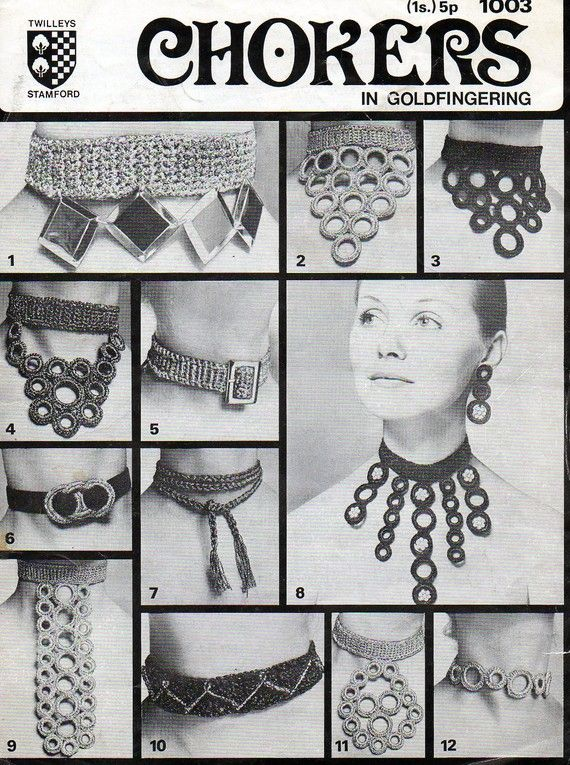 1970s Crochet Jewelry Jewellery Chokers Necklace 12 designs Pattern pdf file INSTANT DOWNLOAD