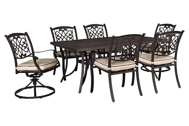 beige brown burnella 7 piece outdoor rectangular dining set 42 x