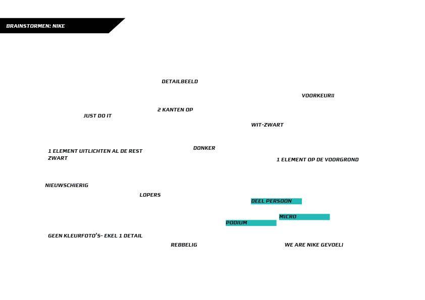 """Brainstorm Nike: Ik heb eerst wat gebrainstormd over Nike hier zijn meerdere stijlen uitgekomen en ben oen mij gaan spitsen op 1 specifieke stijl en dit is een misterieuze zwart-wit stijl met een """"We are Nike"""" gevoel."""