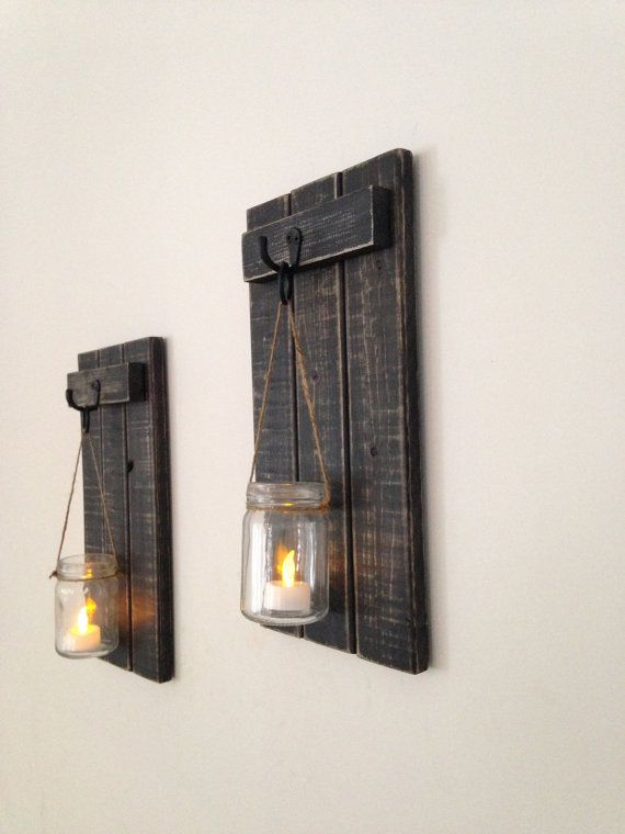 Rustic Wall Sconce Wooden Candle Holder Mason Jar Candle Holder