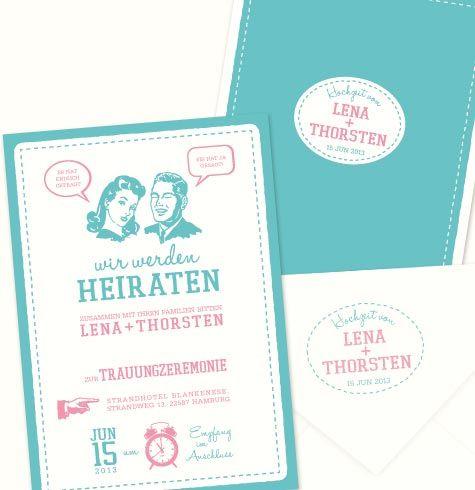 50er Jahre Hochzeitseinladung Hochzeitseinladung