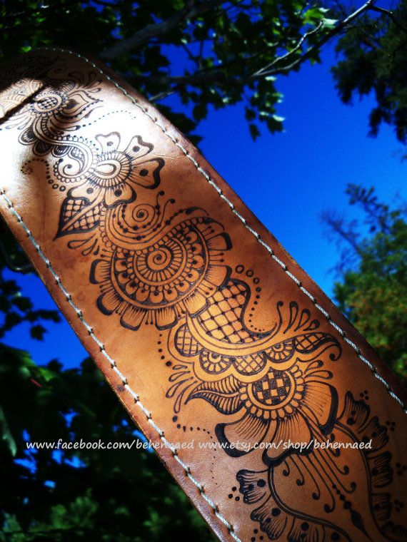 HUGE Leather Belt With Pyrographed Henna/mehndi Designs OOAK | Leather Belts Etsy And Belt