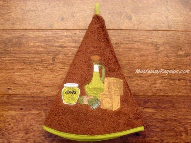 Paño redondo de cocina 100 % algodón modelo ACEITERA en color marrón (70 cm. de diámetro). Se utiliza como paño en la cocina o como toalla para las manos en el baño.