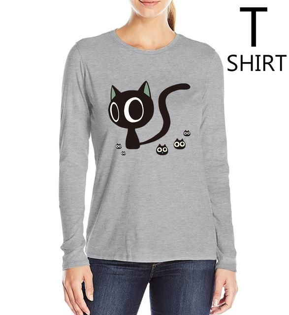 slim fit cotton casual tee shirt femme women's cute cats printing t-shirts high quality hip-hop top woman camisteas 2017 S-XL