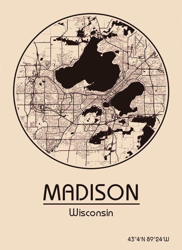 Karte Map Madison Wisconsin Vereinigte Staaten von Amerika
