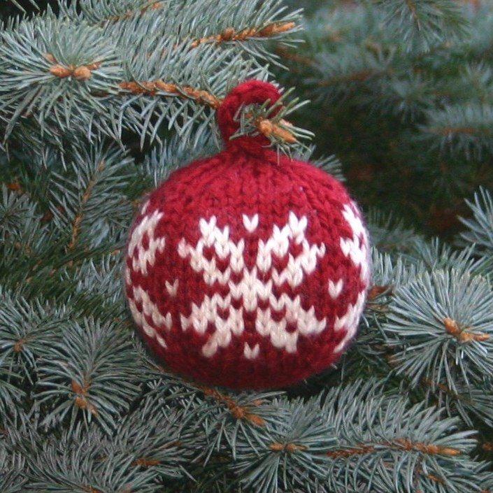 Free Knitting Pattern Two Strands Christmas Ball Holidays
