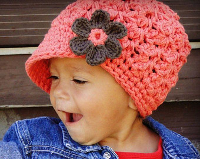 Crochet Baby Hat, toddler girls hat, kids hat, crochet newsboy hat ...