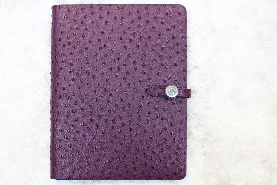 Customized iPad case with purple detail.