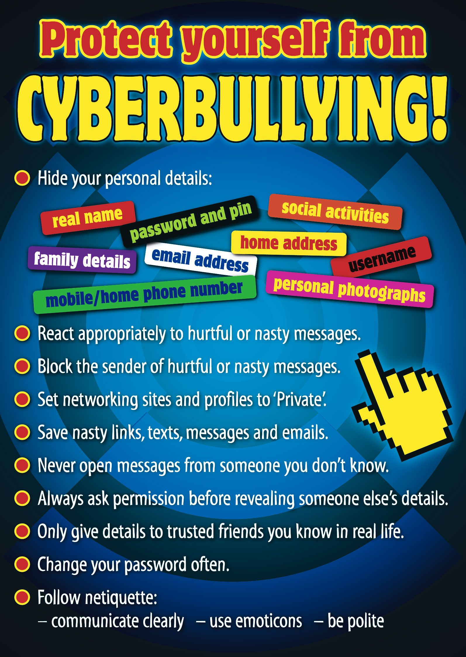 BULLYING IDEAS Bullying in a Cyber World Poster Ages 8