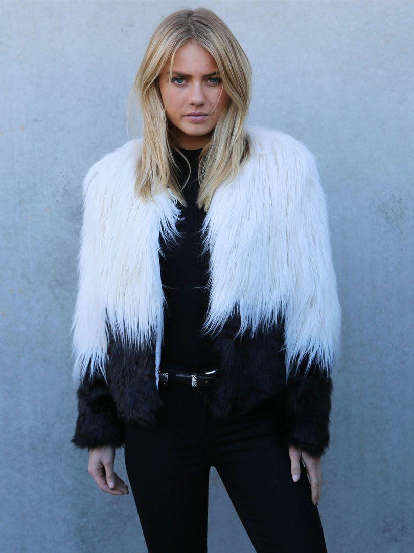 Two Tone Shaggy Faux Fur Coat   Fashionista   Pinterest   Shaggy ...