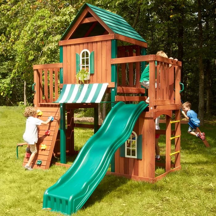 Juneau Swing Set Kit Kids Play Houses Wooden Swings Backyard