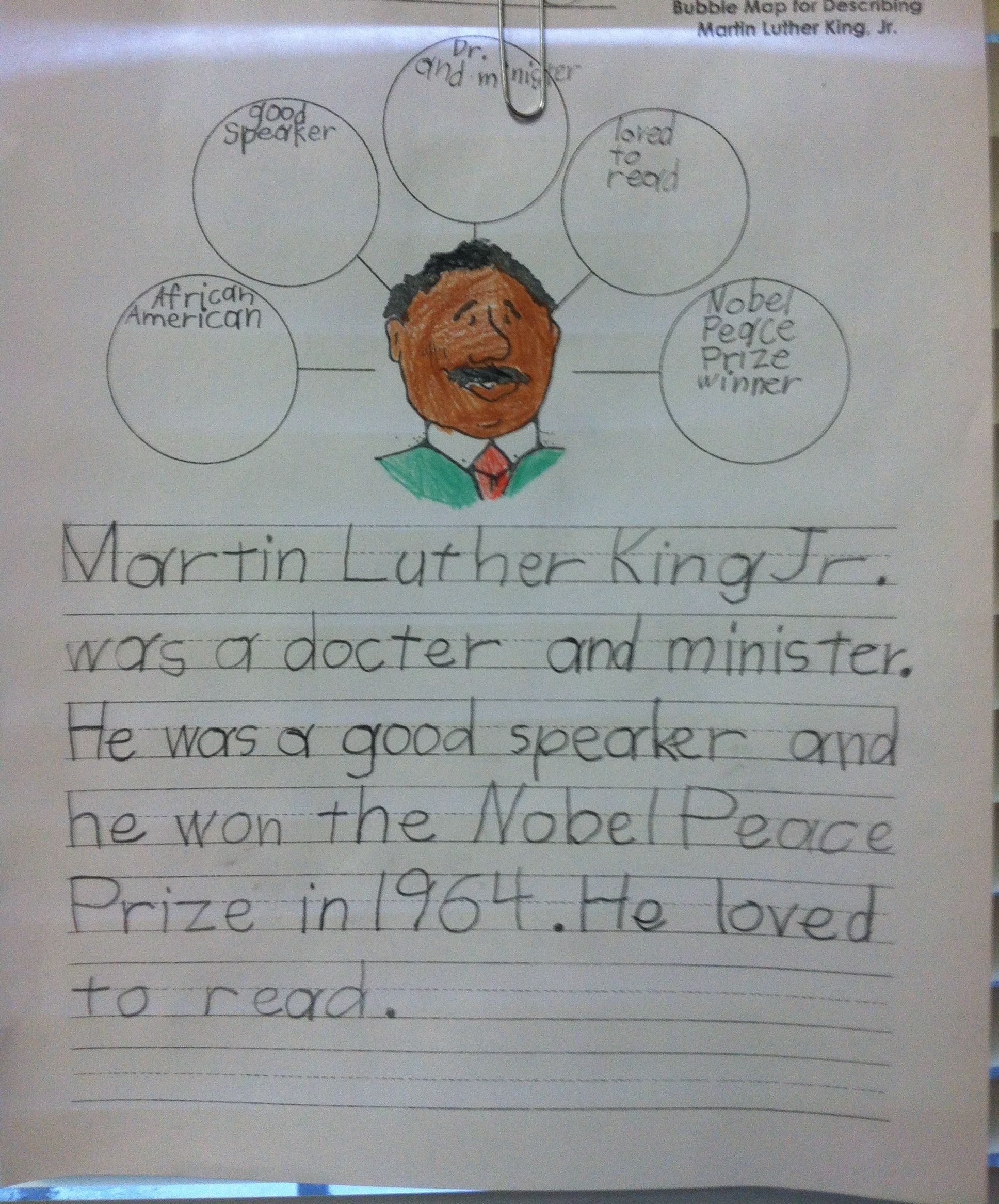 Bubble Map For Describing Mlk Jr