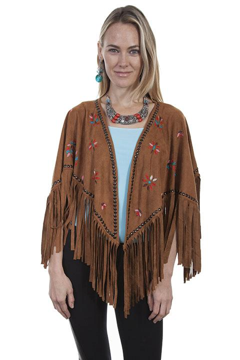 Women's Honey Creek Collection Accessory: Wrap Faux Suede Cape Southwest Style