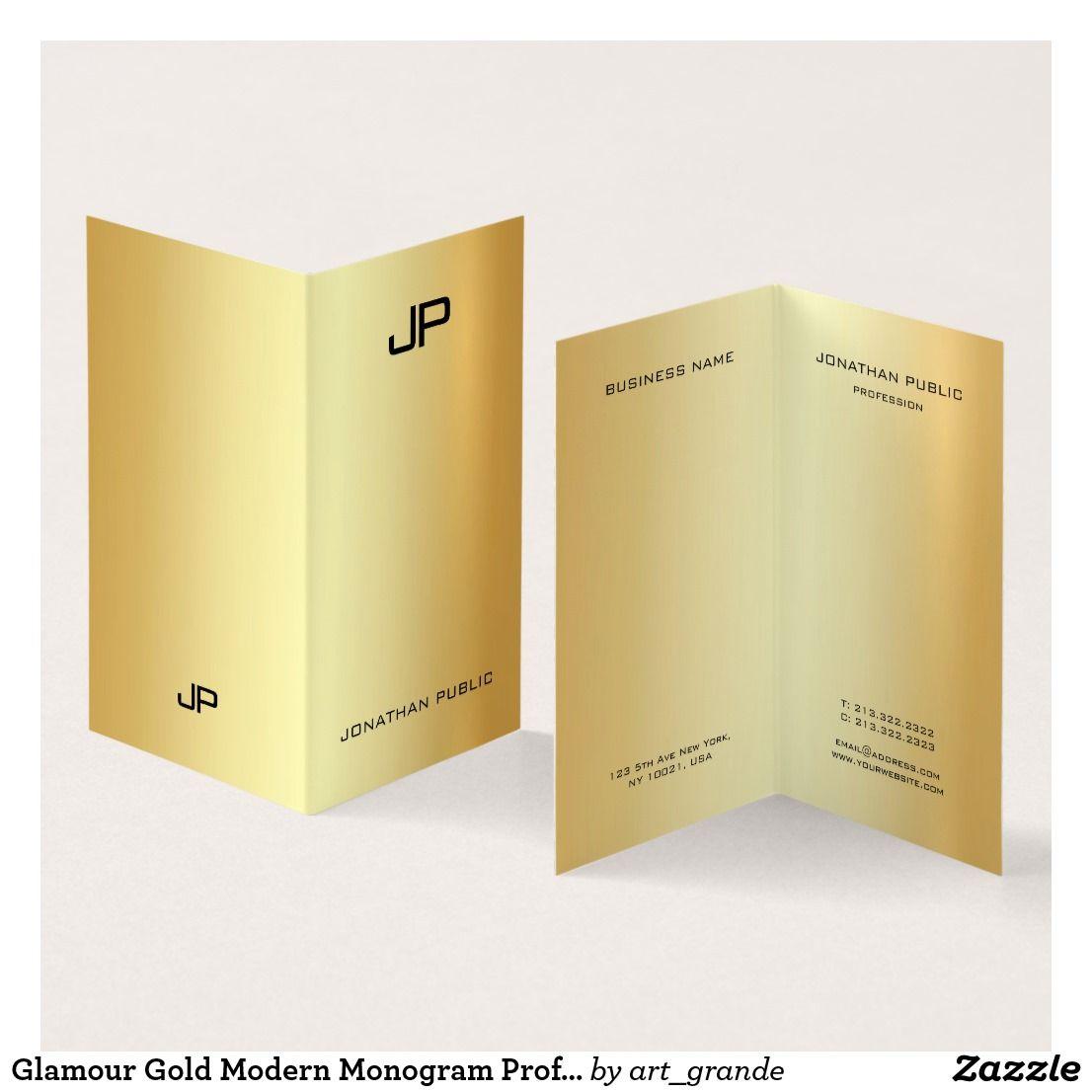 Glamour Gold Modern Monogram Professional Elegant Business