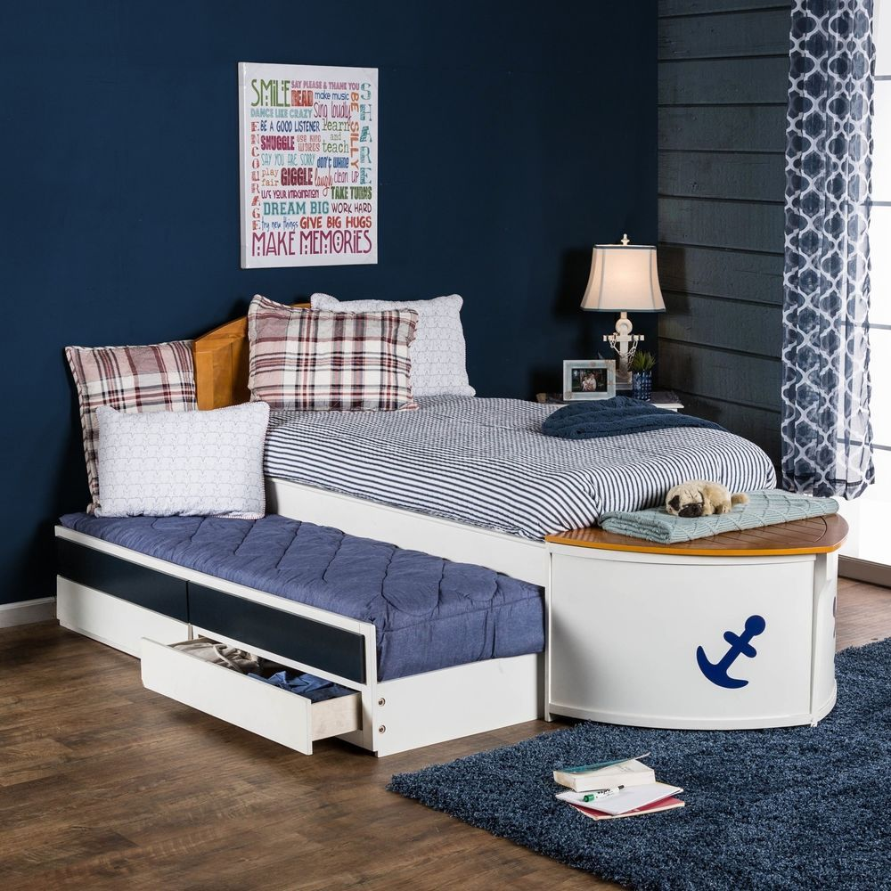 furniture of america capitaine boat twin bed with trundle and storage
