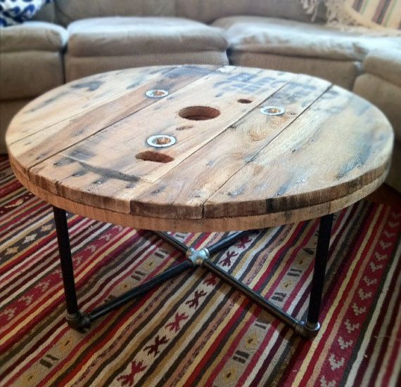 Round reclaimed / salvaged wood spool table with steel pipe base. Great  rustic / industrial - Round Reclaimed / Salvaged Wood Spool Table With Steel Pipe Base